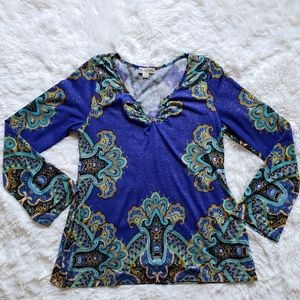 Live & Let Live women's large blue paisley top